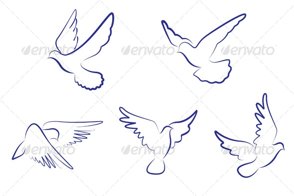 Set of white doves - Animals Characters