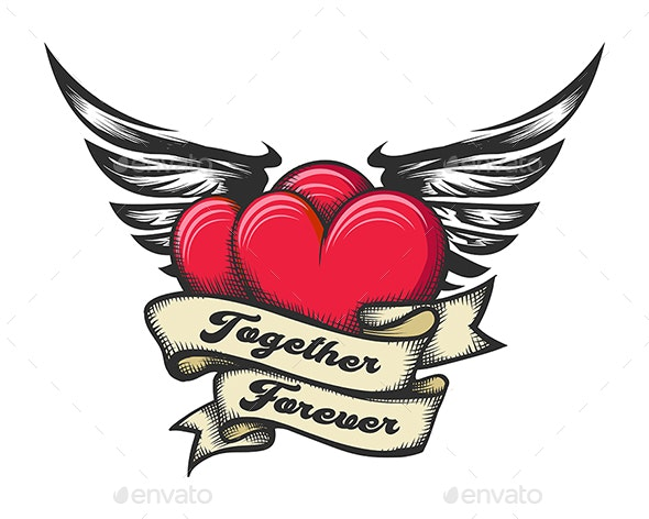 Winged Heats and Ribbon with Lettering Together Forever Tattoo - Tattoos Vectors