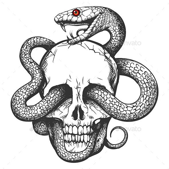 Skull with Snake Tattoo - Tattoos Vectors