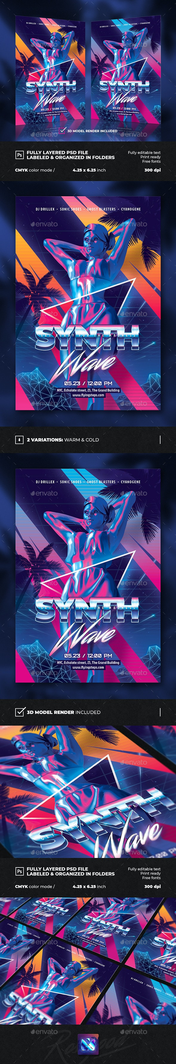 Synth Retro Wave Party Flyer - Clubs & Parties Events
