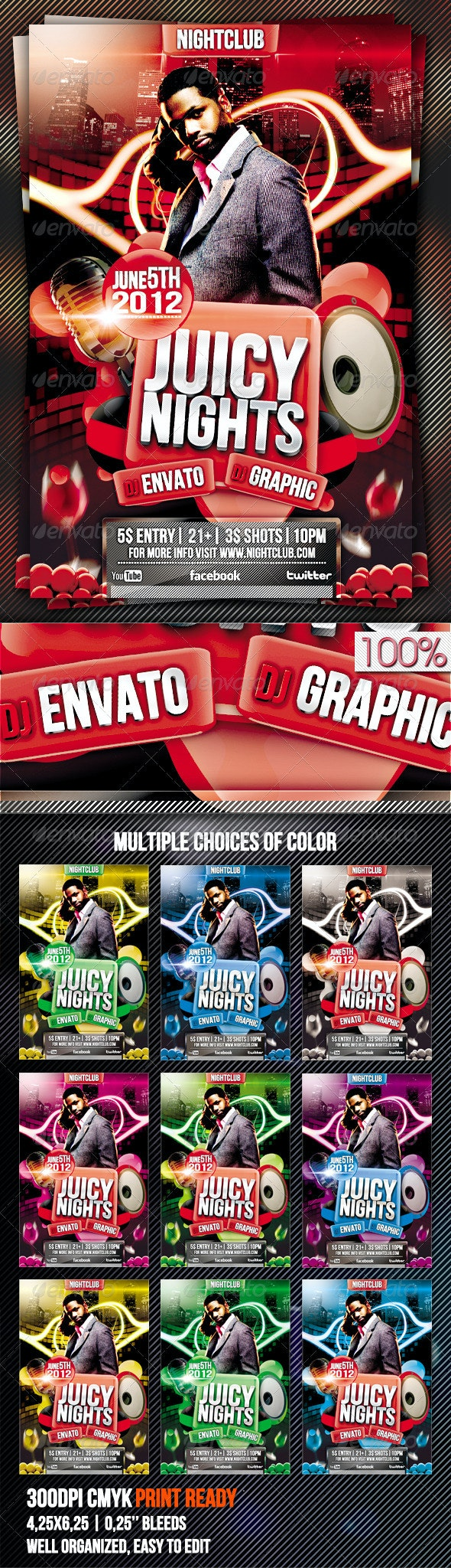 Juicy Nights Flyer Template Vol.3 - Clubs & Parties Events