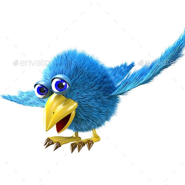 3D Illustration Blue Cartoon Bird Flies Side View