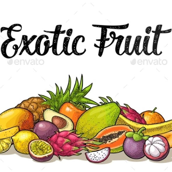 Set of Exotic Fruits with Calligraphic Lettering