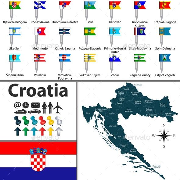 Map of Croatia - Travel Conceptual