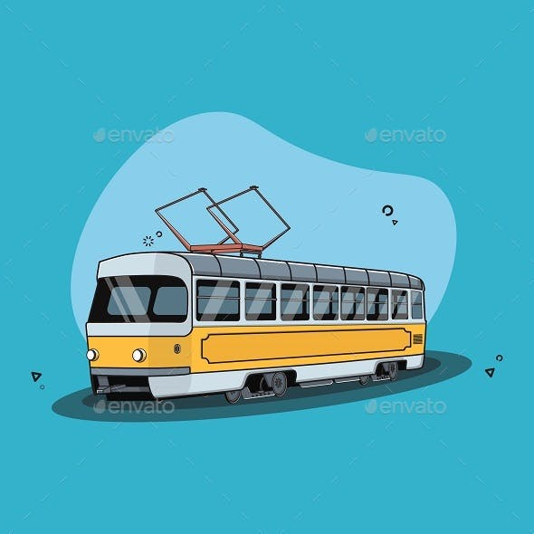 Tram Vector Illustration