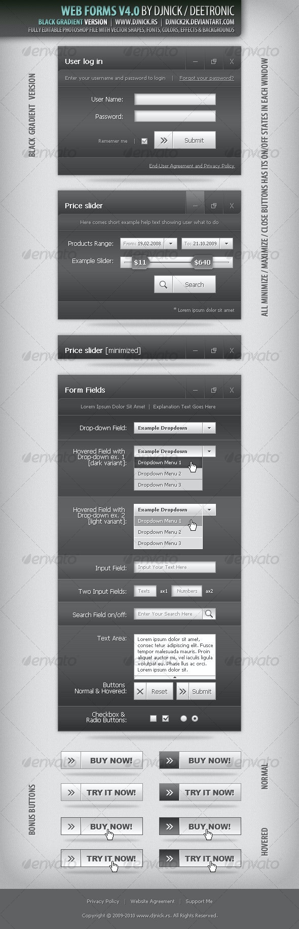 Web Forms 4 - Vector Dark Gradient layered PSD - Miscellaneous Web Elements