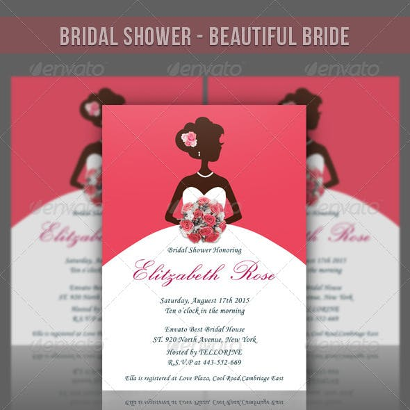 Bridal Shower Invitation - Beautiful Bride