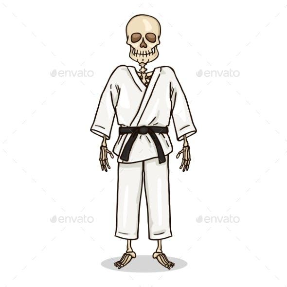 Vector Cartoon Skeleton in White Karate Kimono