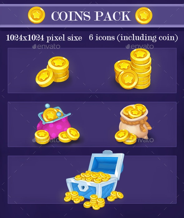 Coins  Icon Pack - Miscellaneous Game Assets