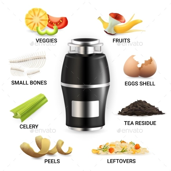 Food Waste Disposer And Kitchen Scraps Vector