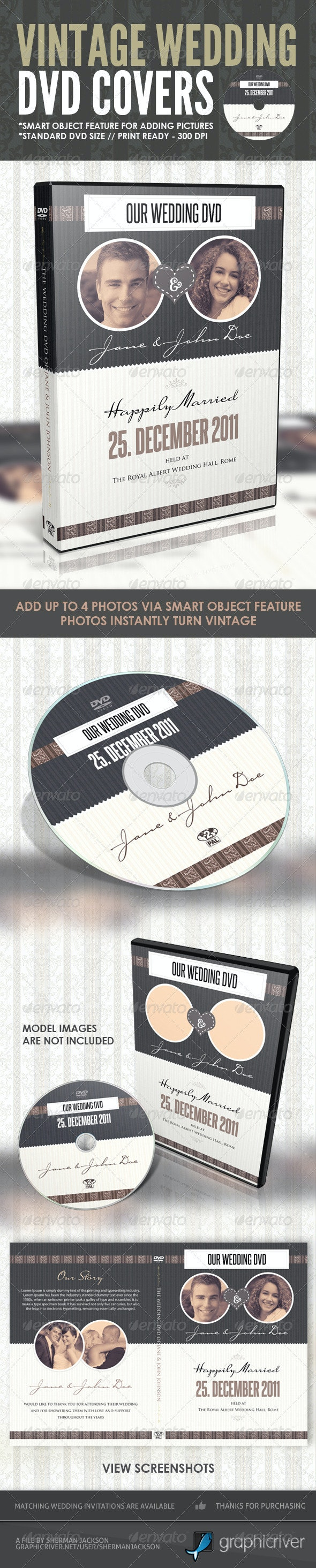 Vintage Wedding DVD Covers & Disc Label - CD & DVD Artwork Print Templates