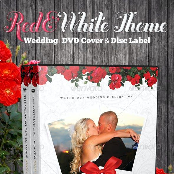 Red & White Theme Wedding DVD & Disc Label