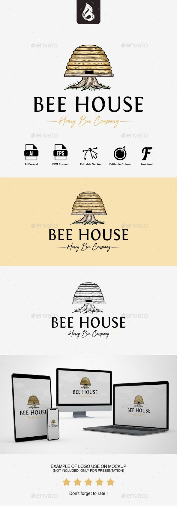 Bee House Logo - Objects Logo Templates