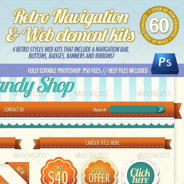 4 Retro Navigation Bar & Web Element Kits
