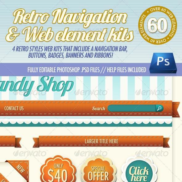 4 Retro Navigation Bar & Web Element Kits