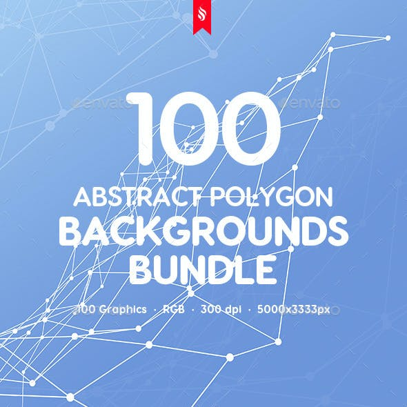 Hitech - 100 Outline Connected Polygon Backgrounds Bundle