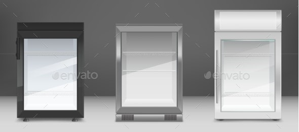 Empty Mini Refrigerators with Clear Glass Door - Man-made Objects Objects
