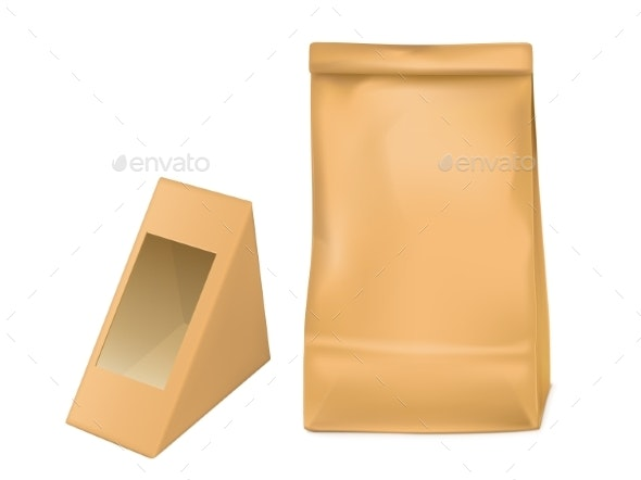 Paper Bag and Triangle Packaging Box for Sandwich - Food Objects