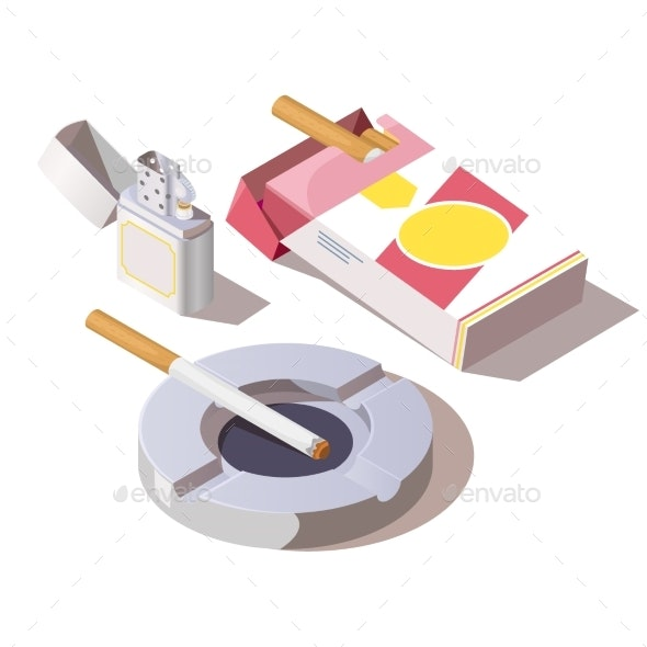 Pack of Cigarettes Gas Lighter and Ashtray - Man-made Objects Objects
