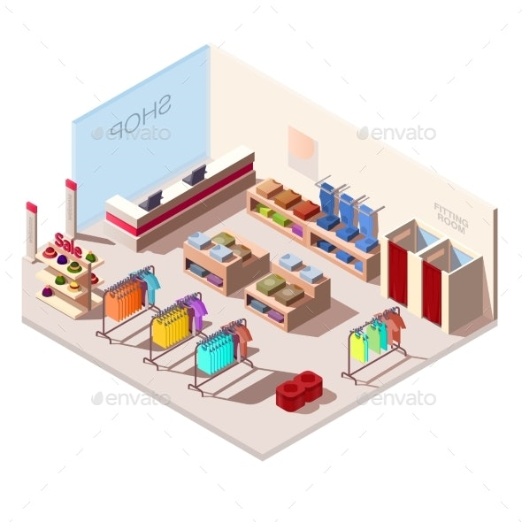 Isometric Interior of Fashion Store - Buildings Objects