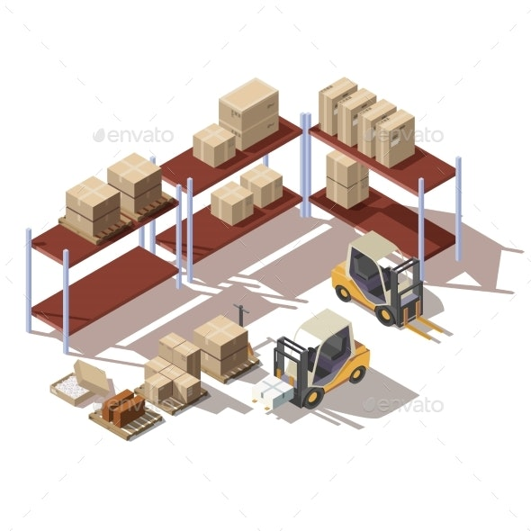 Isometric Interior of Warehouse with Forklift - Man-made Objects Objects