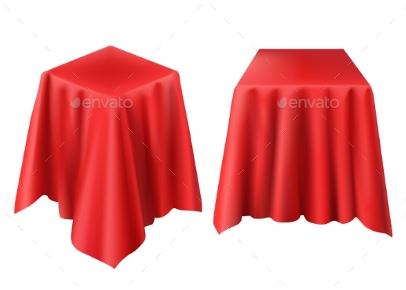 Vector Realistic Box Covered with Red Cloth - Man-made Objects Objects