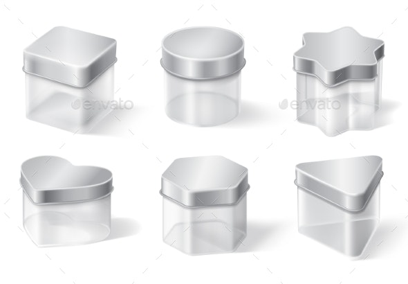 Transparent Glass Jar with Metal Lid - Food Objects