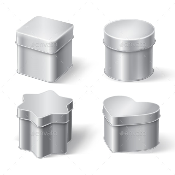 Metal Tin Boxes for Tea Coffee or Candies - Food Objects