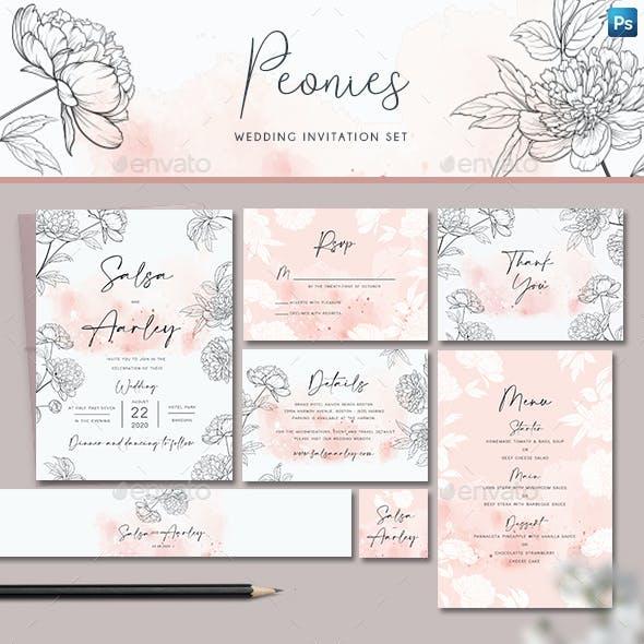 Peonies Wedding Invitation