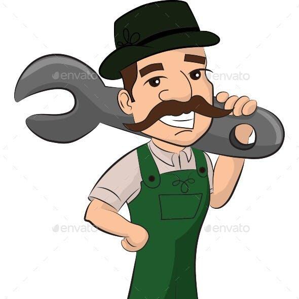 Mechanic Cartoon Character Vector Illustration