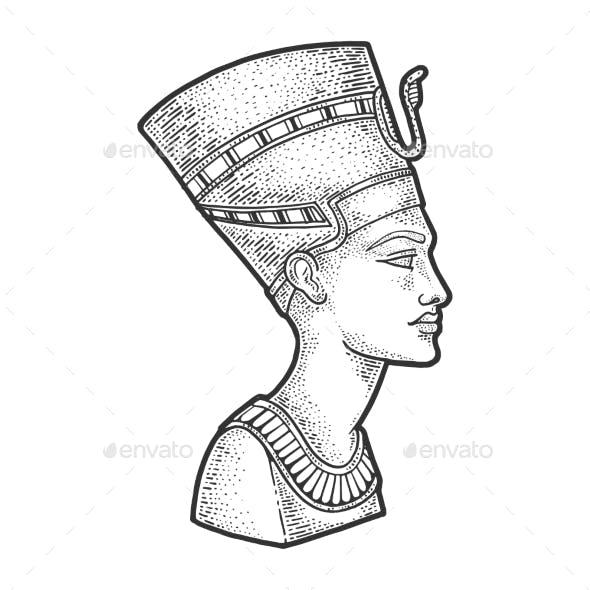 Ancient Egyptian Nefertiti Pharaoh Sketch Vector