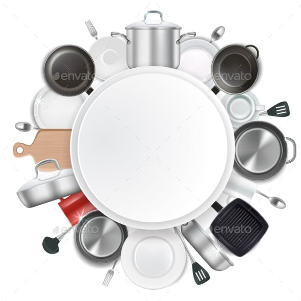 Frame with Kitchen Utensils and Dishes Realistic