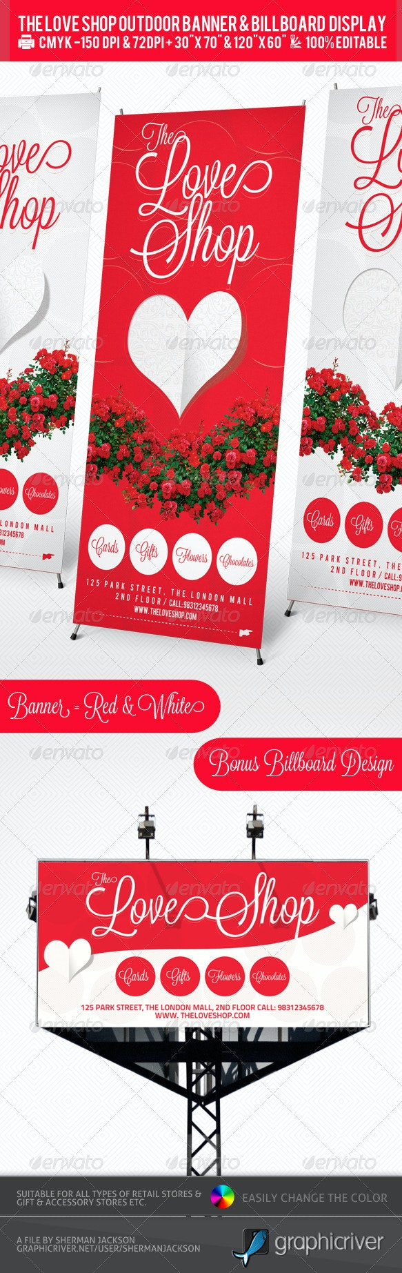 Gift Store Outdoor Banner & Billboard Design PSD - Signage Print Templates