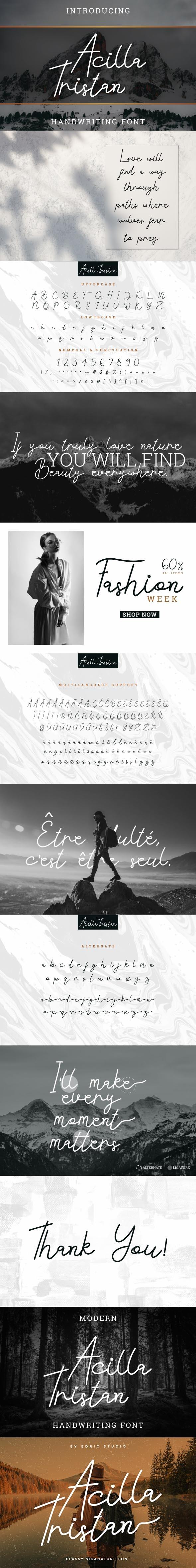 Acilla Tristan - Handwriting Fonts