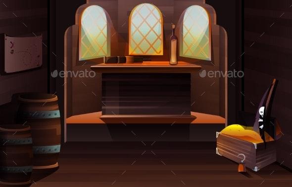 Interior of Captain Cabin on Pirate Ship - Miscellaneous Vectors