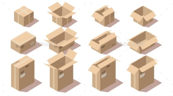Isometric Cardboard Delivery Package Boxes - Man-made Objects Objects