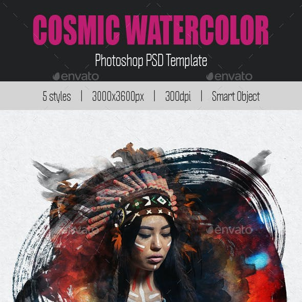 Cosmic Watercolor PSD Template