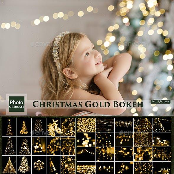 60 Christmas Gold Bokeh Overlays