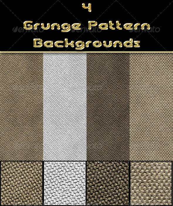 4 Grunge Pattern Backgrounds - Fabric Textures