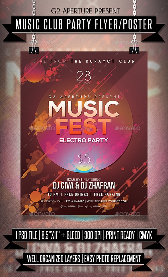 Music Club Party Flyer / Poster - Clubs & Parties Events