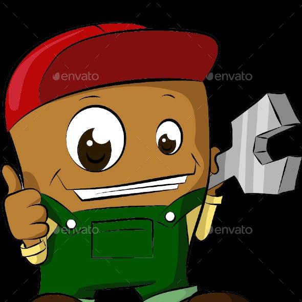 Happy Mechanic Cartoon Character Vector Illustration