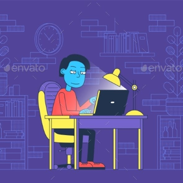 Freelancer Worked at Night in Home Office