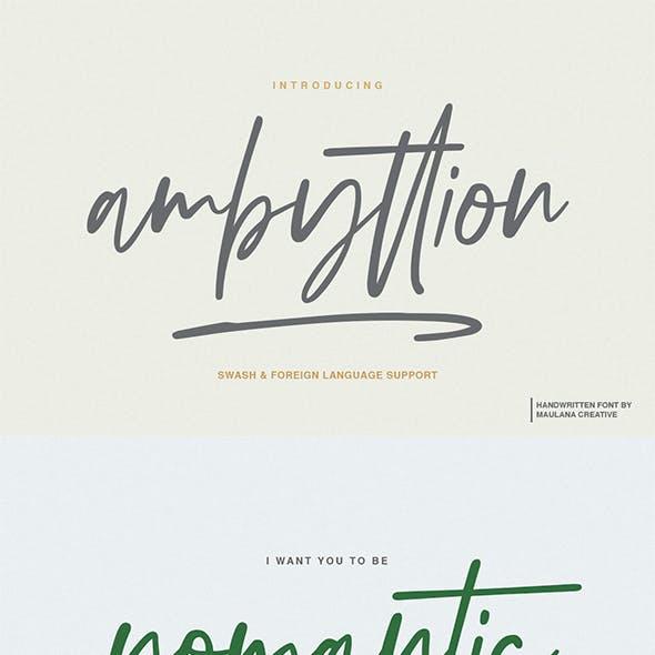 Ambyttion - Swash Handwritten Font