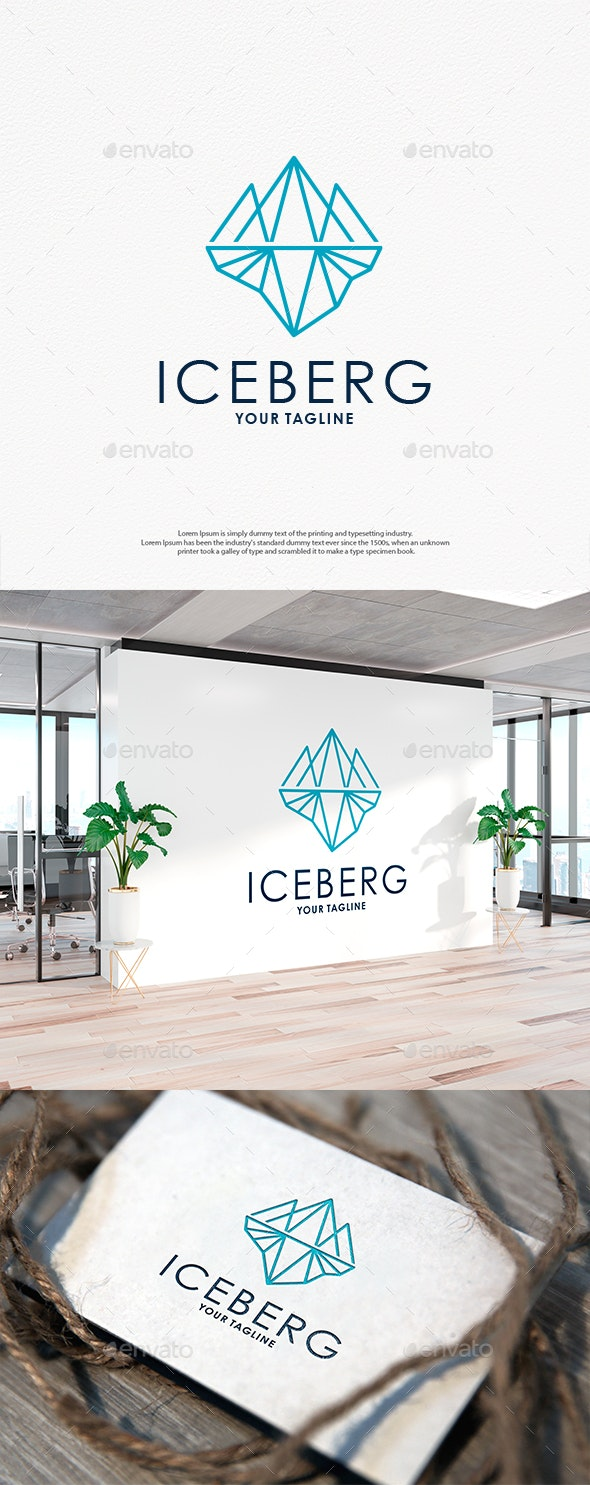 Iceberg Line Art Logo - Vector Abstract