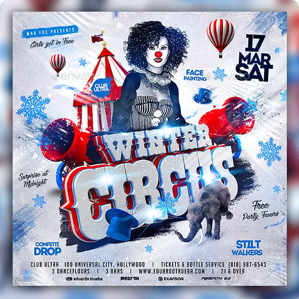 Winter Circus Party Flyer