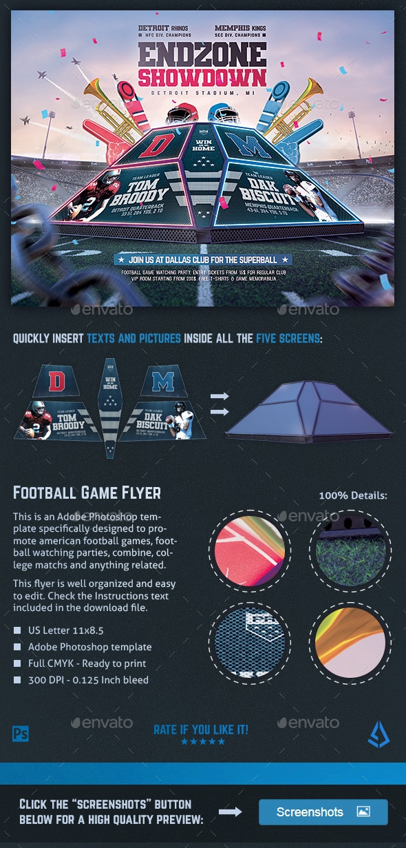American Football Flyer v11 Superball Match Template - Sports Events
