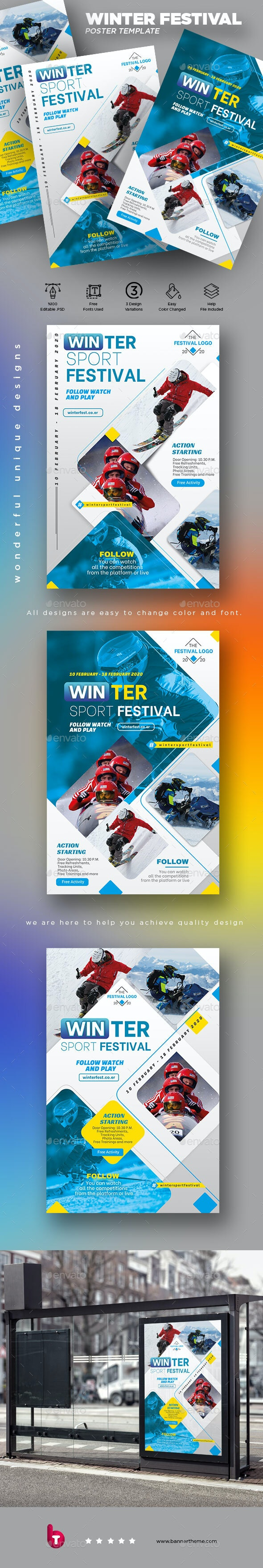 Winter Sport Festival Poster - Signage Print Templates