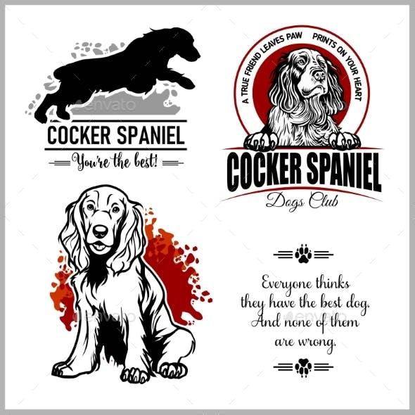 Cocker Spaniel - Vector Set for T-Shirt