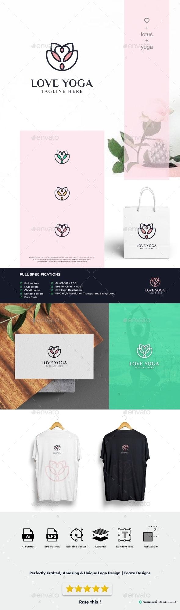 Love Yoga - Lotus Flower - Nature Logo Templates