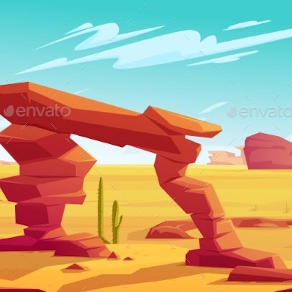 Desert Arch on Natural Landscape Background